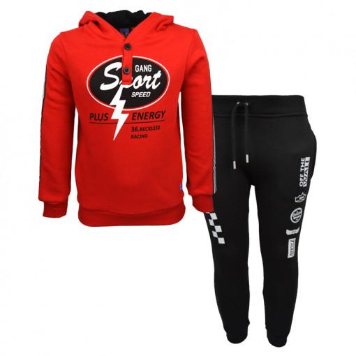 """Σετ κόκκινη μακρυμάνικη μπλούζα με μαύρη φόρμα παντελόνι """"Plus Energy"""""""