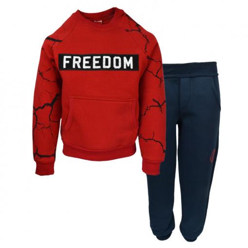 """Σετ κόκκινη μακρυμάνικη μπλούζα με μπλε φόρμα παντελόνι """"Freedom"""""""
