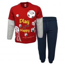 """Σετ κόκκινη μακρυμάνικη μπλούζα με μπλε φόρμα παντελόνι """"Play and be Happy"""""""