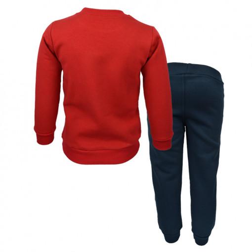 """Σετ κόκκινη μακρυμάνικη μπλούζα με σκούρη μπλε φόρμα παντελόνι """"Tools"""" πίσω μέρος"""