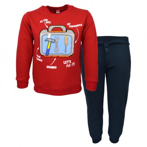 """Σετ κόκκινη μακρυμάνικη μπλούζα με σκούρη μπλε φόρμα παντελόνι """"Tools"""""""