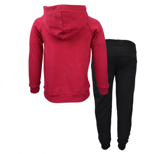 """Σετ κόκκινη μακρυμάνικη μπλούζα φούτερ με κουκούλα και μαύρη φόρμα παντελόνι """"Hello"""" πίσω μέρος"""