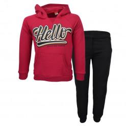 """Σετ κόκκινη μακρυμάνικη μπλούζα φούτερ με κουκούλα και μαύρη φόρμα παντελόνι """"Hello"""""""