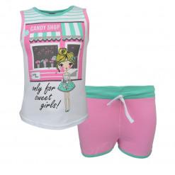 """Σετ λευκή αμάνικη μπλούζα με ροζ σορτσάκι """"Candy Shop"""""""
