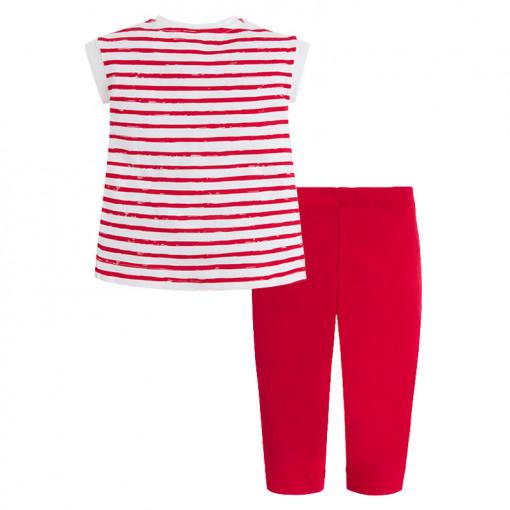 """Σετ λευκή μακρυμάνικη μπλούζα με κόκκινο παντελόνι """"Style"""" πίσω μέρος"""