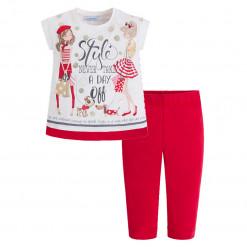 """Σετ λευκή μακρυμάνικη μπλούζα με κόκκινο παντελόνι """"Style"""""""