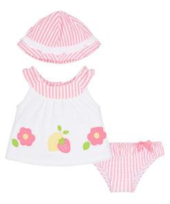 """Σετ μαγιό μπικίνι ροζ με αμάνικη μπλούζα λευκή και καπέλο ροζ """"Φραουλίτσα"""""""