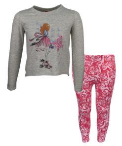 """Σετ μακρυμάνικη μπλούζα γκρι με κολάν ροζ """"Νεράιδα"""""""