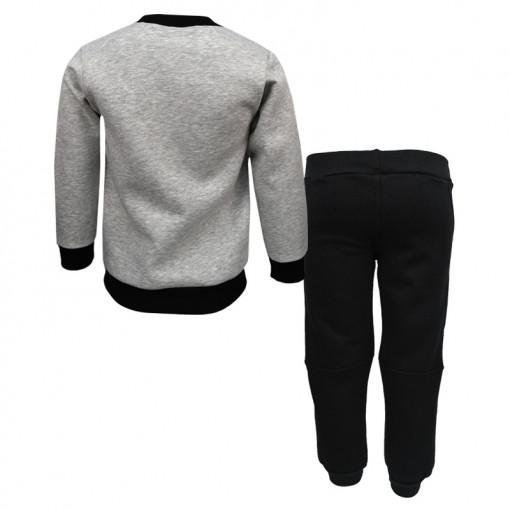 """Σετ μακρυμάνικη μπλούζα γκρι με φόρμα παντελόνι μαύρο """"Yeah"""" πίσω μέρος"""