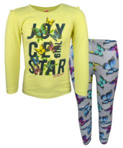 """Σετ μακρυμάνικη μπλούζα κίτρινη με γκρι κολάν """"Joyce Stars"""""""