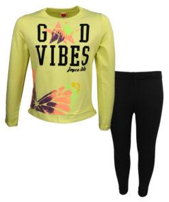 """Σετ μακρυμάνικη μπλούζα κίτρινη με κολάν μαύρο """"Good Vibes"""""""