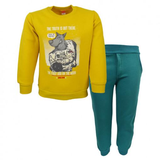"""Σετ μακρυμάνικη μπλούζα κίτρινη με φόρμα παντελόνι πράσινο """"Space Vision"""""""