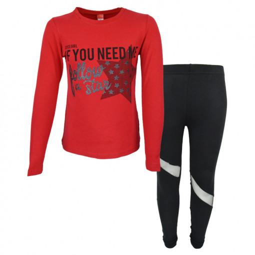 """Σετ μακρυμάνικη μπλούζα κόκκινη με κολάν μαύρο """"Follow the Star"""""""