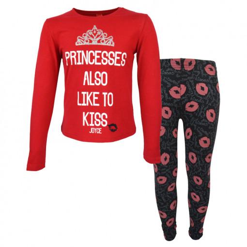 """Σετ μακρυμάνικη μπλούζα κόκκινη με κολάν μαύρο """"Princesses"""""""