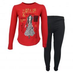 """Σετ μακρυμάνικη μπλούζα κόκκινη με κολάν μαύρο """"The Art of Fashion"""""""