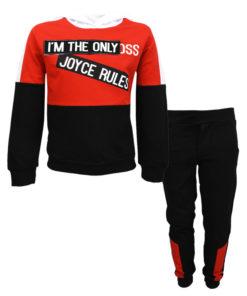 """Σετ μακρυμάνικη μπλούζα κόκκινη με φόρμα παντελόνι μαύρο """"I'm the Only"""""""