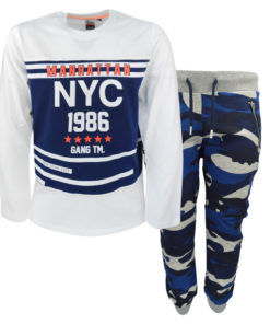 """Σετ μακρυμάνικη μπλούζα λευκή και φόρμα παντελόνι μπλε """"Manhattan NYC"""""""