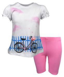 """Σετ μακρυμάνικη μπλούζα λευκή με ποδηλατικό κολάν ροζ """"Ποδήλατο"""""""