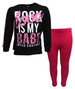 """Σετ μακρυμάνικη μπλούζα μαύρη με κολάν φούξια """"Rock Babe"""""""
