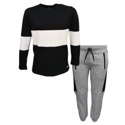 """Σετ μακρυμάνικη μπλούζα μαύρη με φόρμα γκρι """"Player"""""""
