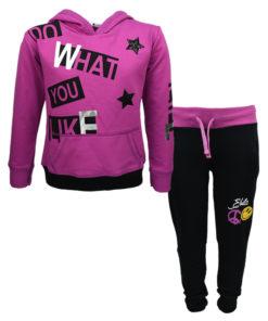 """Σετ μακρυμάνικη μπλούζα με κουκούλα μωβ και φόρμα παντελόνι μαύρη """"What You Like"""""""