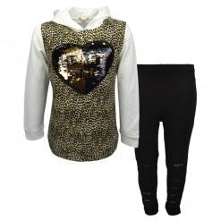 """Σετ μακρυμάνικη μπλούζα με μαύρο κολάν """"Heart And"""""""