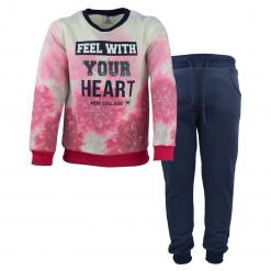 """Σετ μακρυμάνικη μπλούζα με μπλε παντελόνι φόρμα """"Feel With Your Heart"""""""