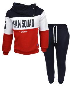 """Σετ μακρυμάνικη μπλούζα με ψηλό λαιμό και μαύρη φόρμα παντελόνι """"Fan Squad"""""""
