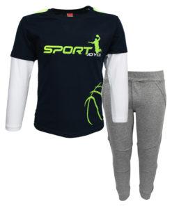 """Σετ μακρυμάνικη μπλούζα μπλε με φόρμα παντελόνι γκρι """"Sport"""""""