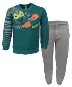 """Σετ μακρυμάνικη μπλούζα πράσινη με φόρμα παντελόνι γκρι """"Tiger"""""""