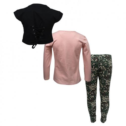 """Σετ μακρυμάνικη μπλούζα ροζ και κοντή αμάνικη μπλούζα μαύρη με κολάν χακί """"Emotions Club"""" πίσω μέρος"""