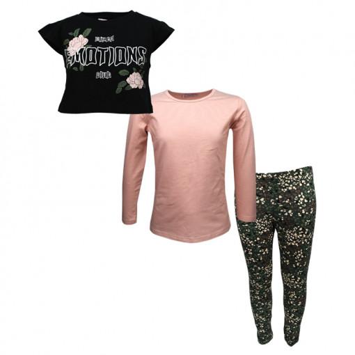"""Σετ μακρυμάνικη μπλούζα ροζ και κοντή αμάνικη μπλούζα μαύρη με κολάν χακί """"Emotions Club"""""""