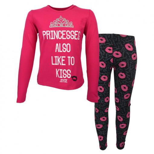 """Σετ μακρυμάνικη μπλούζα φούξια με κολάν μαύρο """"Princesses"""""""
