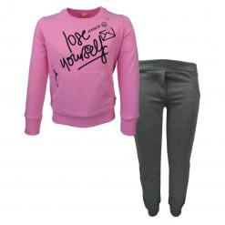 """Σετ μακρυμάνικη ροζ μπλούζα με φόρμα παντελόνι γκρι """"Lose Yourself"""""""