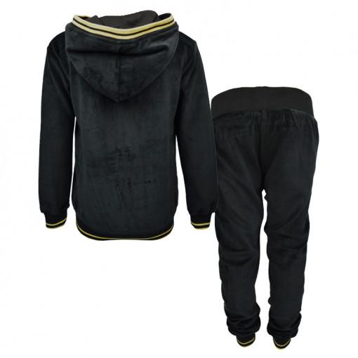 """Σετ μαύρη μακρυμάνικη βελούτε μπλούζα με μαύρη φόρμα παντελόνι βελουτέ """"Perfecto"""" πίσω μέρος"""