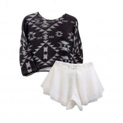 """Σετ μαύρη μακρυμάνικη μπλούζα με άσπρη τούλινη φούστα """"Σχέδια"""""""