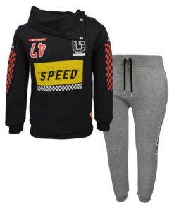 """Σετ μαύρη μακρυμάνικη μπλούζα με γκρι φόρμα παντελόνι """"Go for Speed"""""""