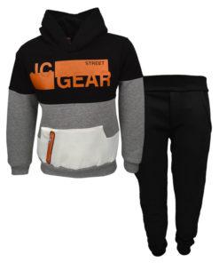 """Σετ μαύρη μακρυμάνικη μπλούζα με κουκούλα και μαύρη φόρμα παντελόνι """"JC Gear"""""""