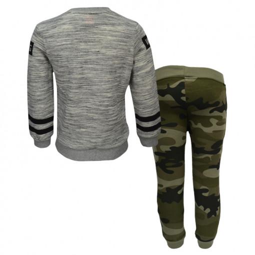 """Σετ με μπλούζα μακρυμάνικη γκρι και παντελόνι φόρμας παραλλαγής """"Wild Tiger"""" πίσω μέρος"""