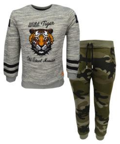 """Σετ με μπλούζα μακρυμάνικη γκρι και παντελόνι φόρμας παραλλαγής """"Wild Tiger"""""""