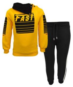 """Σετ μουσταρδί μακρυμάνικη μπλούζα με μαύρη φόρμα παντελόνι """"Fast"""""""