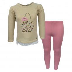 """Σετ μπεζ μακρυμάνικη μπλούζα με τούλι στο τελείωμα και ροζ κολάν """"Τσάντα με Στρασάκια"""""""