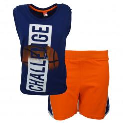 """Σετ μπλε κοντομάνικη μπλούζα με βερμούδα φόρμα πορτοκαλί """"Challenge"""""""