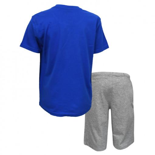 """Σετ μπλε κοντομάνικη μπλούζα με γκρι φόρμα σορτσάκι """"Surfs Up"""" πίσω μέρος"""