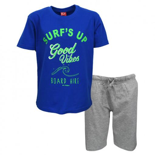 """Σετ μπλε κοντομάνικη μπλούζα με γκρι φόρμα σορτσάκι """"Surfs Up"""""""