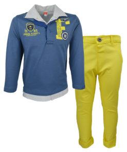 """Σετ μπλε μακρυμάνικη μπλούζα με γιακά και κίτρινο παντελόνι """"Airmail"""""""