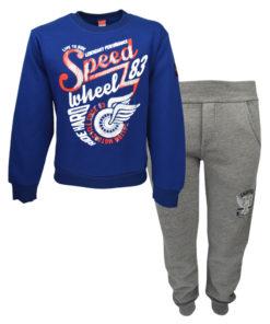 """Σετ μπλε μακρυμάνικη μπλούζα με γκρι φόρμα παντελόνι """"Speed"""""""