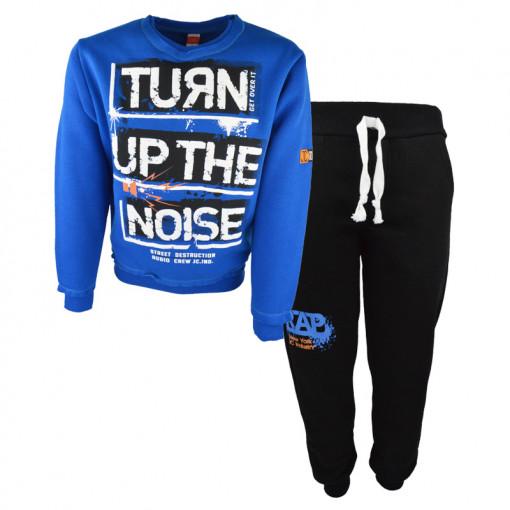 """Σετ μπλε μακρυμάνικη μπλούζα με μαύρη φόρμα παντελόνι """"Turn Up the Noise"""""""
