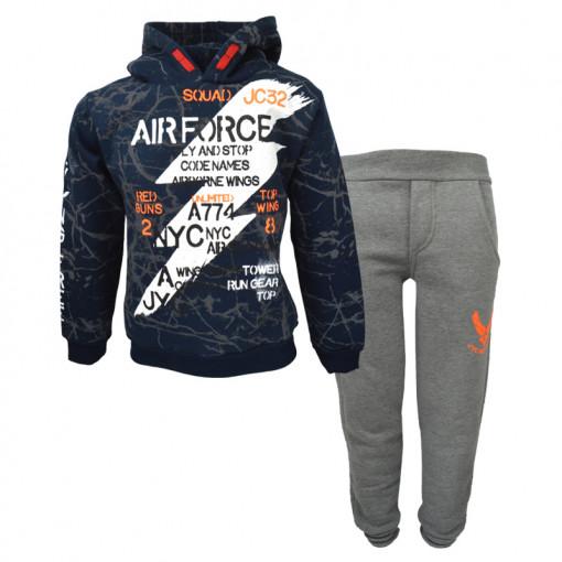 """Σετ μπλε σκούρα μακρυμάνικη μπλούζα με γκρι φόρμα παντελόνι """"Air Force"""""""