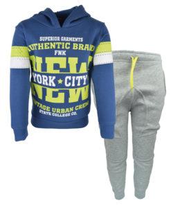 """Σετ μπλε φούτερ με κουκούλα και γκρι φόρμα παντελόνι βράκα """"New York City"""""""